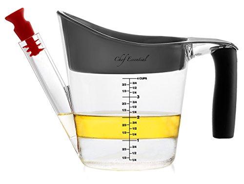 Fettabscheider 4 Becher a 1 Liter, Soßen- und Fetttrenner, hitzebeständig, integrierter Messbecher, Spülmaschinen geeignet, Soßen und Fonds einfach trennen, Suppen von Fett befreien