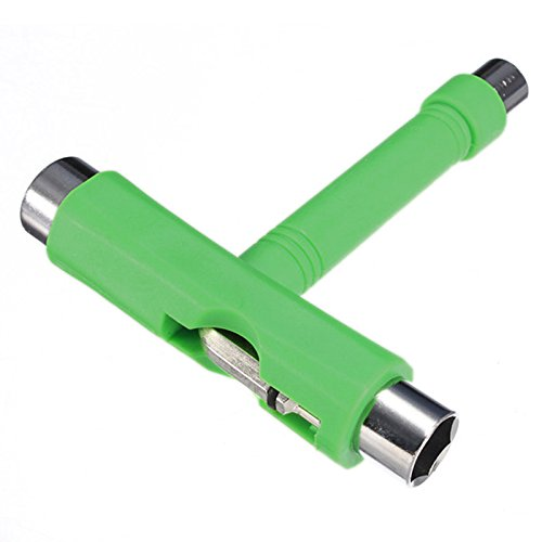 Herramienta de monopatin - TOOGOO(R)herramienta de rodillo de patin de ruedas todo en 1 T herramienta de Patin ATB+ llave Allen verde