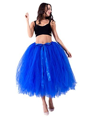 Honeystore Damen's Tüllrock Maxirock Lang Tüll Rock Tutu Hochzeit und Party Prinzessin Ballettrock One Size - Blau Halloween Hell Tutu