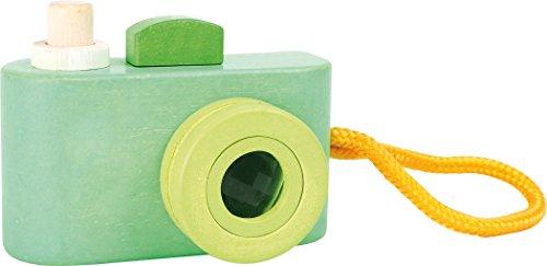 """'Small foot by Legler–Juego cámara de madera en hermosos colores pastel, con correa y un disparador con tono """"quietsch, el objetivo es como un caleidoscopio montado, para pequeñas Aficionados a partir de 1año"""