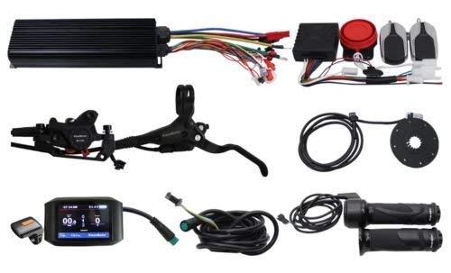 HalloMotor Electric Bicycle 48V 60V 72V 2000W eBike 80A Programmable Regenerative Function Controller Kit with Alarm System+750C Color Display+PAS,Alarm
