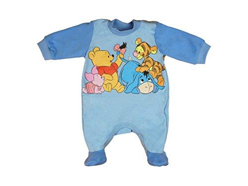 BABY-STRAMPLER mit Füßchen Jungen oder Mädchen, LANG-ARM, Spiel-Anzug mit Druck-Knöpfen, BABY-SCHLAFANZUG Winnie Pooh, Grösse 56, 62, 68, 74, für Neugeborene in rosa, blau, weiß Color Blau, Size 68