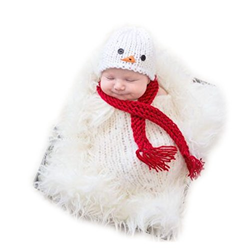 Hand Knitting Newborn Boy Girl Outfits Baby Photography Props Crochet Snowman Hats Scarf Sleeping Bag