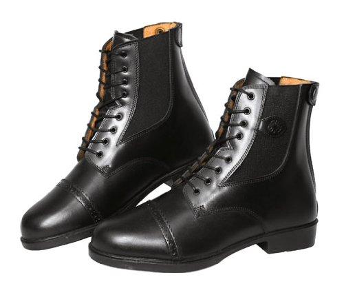 Covalliero 326434 Reitstiefelette Monaco Gr. 39, Glattleder zum Schnüren, schwarz