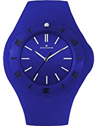 Alpha Saphir Unisex-Uhren Quarz Analog 362C, 45 mm blau