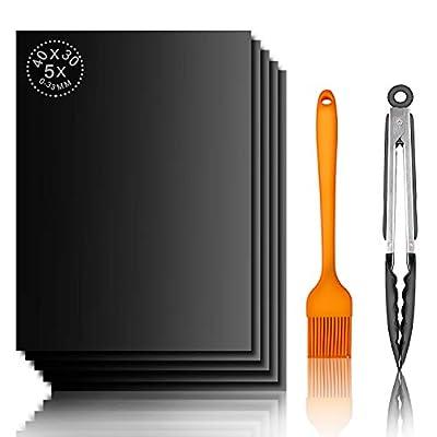 TTKLLLL 5 Stück BBQ Grillmatte, FDA-geprüft, PDFA-frei, antihaftbeschichtet, Wiederverwendbare Backmatten für Elektrogrills, Gas, Holzkohle, Ofen – 22,9 cm Grillzange und Silikonbürste