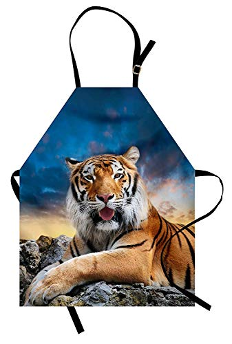 Tiger-Schürze, ruhige sibirische große Katze mit schönem Sonnenuntergang ruht auf einem Boulder Entspanntes Biest, Unisex-Küchenschürze mit verstellbarem Hals zum Kochen Backen Gartenarbeit, ()