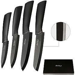 BELLESTYLE Cuchillos de Cerámica Set 4 Piezas Cuchillos de Cocina(6'' cuchillo de pan, 6''Chef cuchillo, 5'' utilidad/cortar, 4'' cuchillo de fruta) (4 packs)