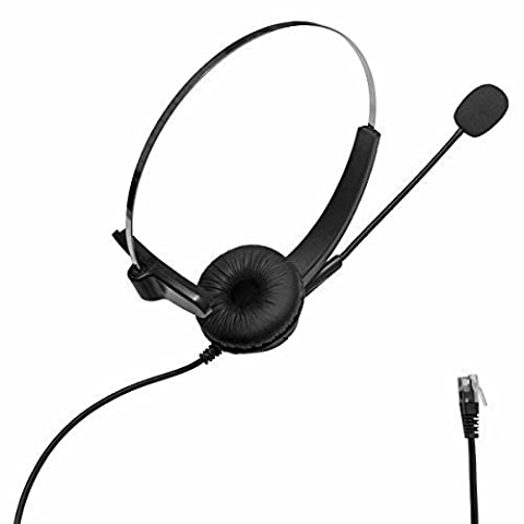 SENHAI Call Center Hands-free Corded Monaural 4-Pin RJ9 Crystal Head Headset Headphone with Mircrophone for Phone Sales,Telephone Counseling Services,Insurance,Hospitals,Banks,Telecom operators.