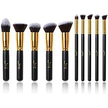 Jessup marca 10pcs Kabuki maquillaje profesional, maquillaje corrector pestañas de separación Blending maletero Fundación Cable de pelo maquillaje herramientas negro/oro T057