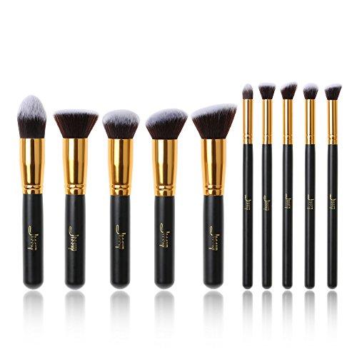 Jessup Marque 10 pcs Kabuki Maquillage Professionnel Beauté Cosmétique Concealer Tampon cils Estompeur Liner Fond de teint en fibres Cheveux Make Up outils Noir/doré T057