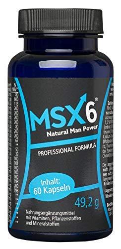 MSX6 | Sex, Lust & Libido | mehr Ausdauer, Energie + Leistungsfähigkeit | härtere Erektion | hochdosiert | natürliche Manneskraft | Hilfe für aktive Männer | Alternative zu Potenzmittel (60 Kapseln)