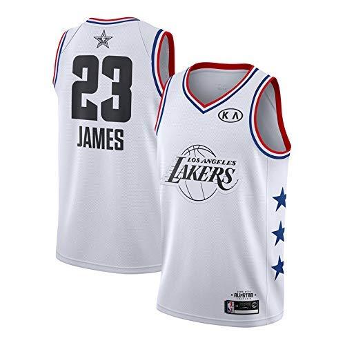 BEOOKEDF Sport Herren Trikot - NBA Lakers # 23 James Mesh Basketball Swingman Trikot Four Seasons Universal White-S