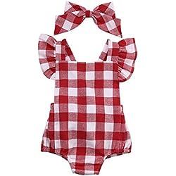 Bebe Vestidos Switchali gran venta Recién nacido Bebé Niña Algodón Bowknot Ropa bodysuit Mameluco jumpsuit Set de trajes 0~18 meses (60)