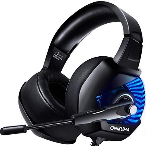ONIKUMA Casque Gaming pour PS4,Xbox One, PC, Laptop, Tablette, Casque Gamer Surround Stéréo 4D, Anti-Bruit Micro, Ultra-Confortable Protéine Oreillette, Volume/Mic Contrôle 3.5mm pour Jeux Vidéo