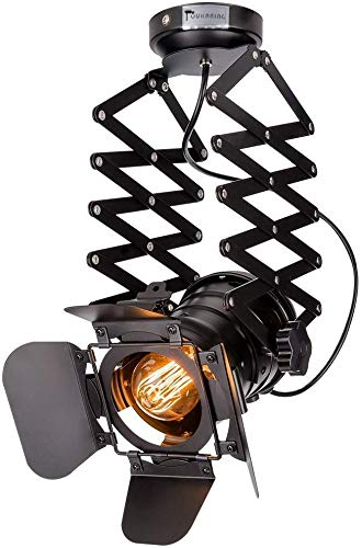 Pendelleuchte Industrial Glühbirne Nicht Enthalten,OUKANING Pendelleuchte Vintage E27 Lampe Industrial Schwarzes Deckenlampe Industrial Verstellbare Metallschiene Pendelbeleuchtung Für