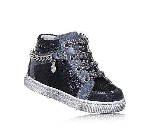 NERO GIARDINI - Sneaker à lacets bleue et grise en cuir, made in Italy, fermeture éclair latérale, Fille, Filles