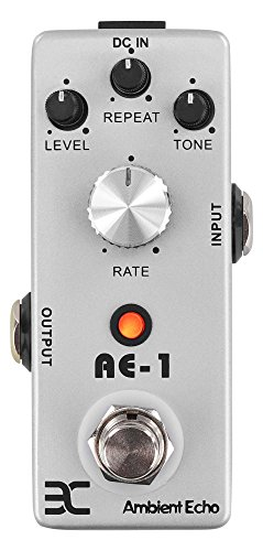 ENO TC-21 Ambient Echo AE-1 Effektpedal (Echo-Effekt im Stompbox-Format, ideal für Surfer-Sounds und Rock'n' Roll, für Short-Delays bis 250 ms, robustes Metall-Gehäuse) Silber