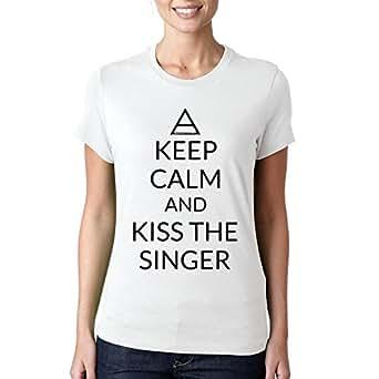BulldogShirts Keep Calm Kiss The Singer 30 Seconds T-Shirt - XX-Large Damen