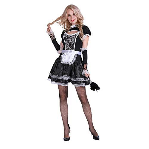 EraSpooky Damen Sexy Zimmermädchen Kostüm Zofe French Maid Dienstmädchen Karneval - Sexy Zimmermädchen Kostüm