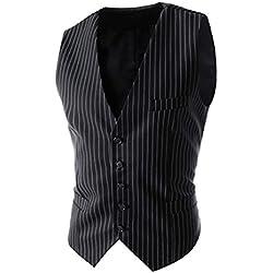 Hombres Casual Vestimenta Rayas Vestir Chaleco Con Dobladillo Simétrico Negro S