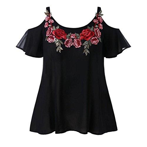 TWIFER Mode Strap Chiffon Lässige Kalte Schulter Bestickte Damen T-Shirt Bluse Tops (Damen-basketball Bestickte)