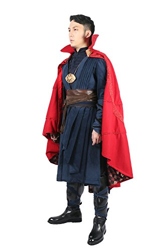Cosplay Costume Deluxe Men Outfit Red Cape Cloak Full Set Suit for Adult Fancy Dress Halloween Party Clothing