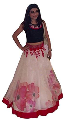 Lehenga (Vinayak women\'s Pink and White colored Net Lehenga choli)