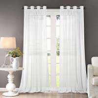Dreaming Casa Voile Curtains White Eyelets Windows Curtains Bedroom Ring Top Classical Solid Ultra Sheer Curtains Living-Room 2 Panels 90