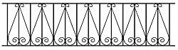 Regent Scroll Railing Fence Panel 1830mm GAP x 395mm High Wrought Iron Steel Metal fencing RR06