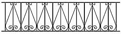 Regent Scroll Railing Fence Panel 1830mm GAP x 395mm High Wrought Iron Steel Metal fencing RR06