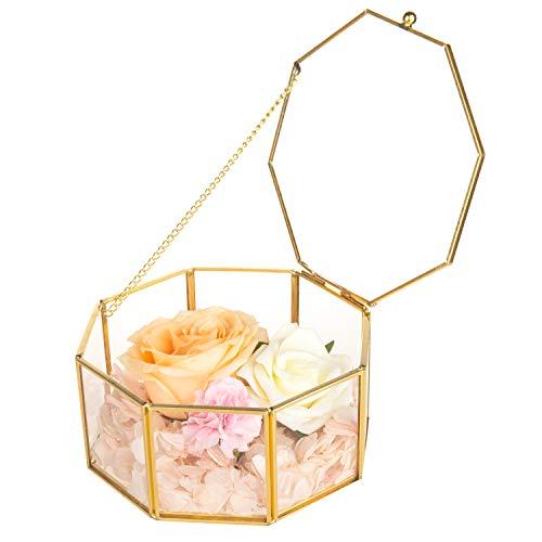Feyarl Glasbox Geometrisches Glas Terrarium Box handgemacht Messing verzierte Ringe Ohrringe Box Konserviert Blume Dekorative Box Schmuck Box (Box Schmuck)