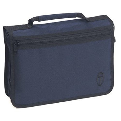 Tasche zum Verstauen von Büchern aus robustem Canvas-Stoff in den Maßen 25,4 x 17, 8 und in der Farben blau, rot oder schwarz mit Reißverschluss an der Vorderseite. -