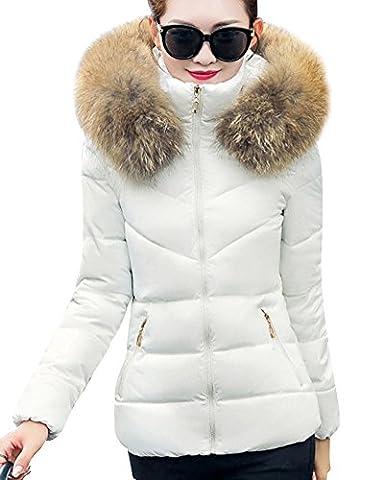 Damen Kurzer Abschnitt Einfarbig Outwear Kapuzen Parka Wintermantel Weiß S (Jacken Kurz)