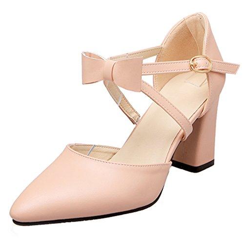 YE Damen Knöchelriemchen Spitz High Heel Pumps mit Schleife und 8cm Blockabsatz Bequem Schuhe Rosa
