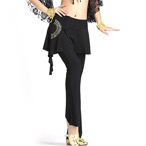 FaithYoo -  Pantaloni  - Moda - Classico  - Donna Black-Gold