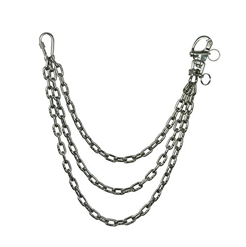 KAMERO Wallet Chain, 3fach-Kette, 4mm, 53cm, Edelstahl, rostfrei, Walletchain, Kette für die Geldbörse, Hosenkette (Wallet Drehverschluss)