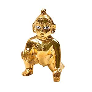 Ankita Gemstones Laddu Gopal, Ball Krishna, Thakur ji in Brass Meal, Baby Krishna