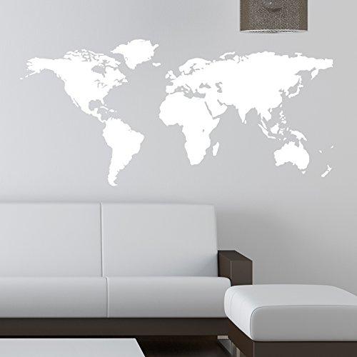 THE VINYL BIZ Mappa del Mondo Adesivo da Parete Kids Wall Sticker Decalcomanie, Vinile, White, Xtra Large 150 cm x 75 cm