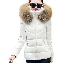 Donna Colletto in pelliccia Down Colletto giacca corta cappotto Caldo Cappotto Giacca Trapuntata Bianco M