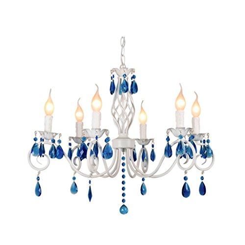 MILUCE Mittelmeer Kristall Kronleuchter E14 Wohnzimmer Dekoriert Weiß Kerze Licht Europäisches Eisen Kunst Schlafzimmer Restaurant Licht (5/6/8 Kopf) ( größe : 5 head: ø54*H37cm ) - Antiquitäten, Kristall-kronleuchter