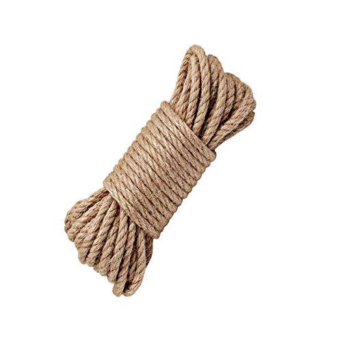 LUOOV 100% natürliche Seile 6mm Dicke Hanfseil und JuteSeil Schärpe,Seil Kordel, Camping Seil, Garten, Mehrzweck Utility Sisal Seil DIY Handwerk Seil 10m 32ft