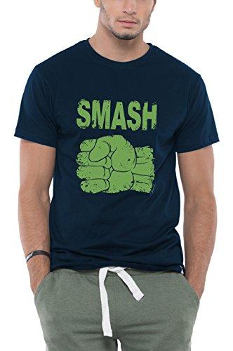 Bewakoof Mens Smash Half Sleeve Cotton T-Shirt_Blue_X-Large