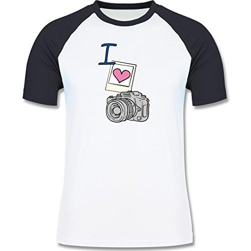 I love - I love photography - zweifarbiges Baseballshirt für Männer Weiß/Navy Blau