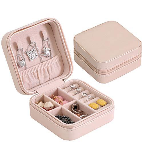 Coomir Tragbares Schmuckkästchen, Aufbewahrungsbox, Reißverschluss, für Damen, Reisetasche mit Display Violett
