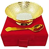 GoldGiftIdeas 4 Inch Gold-Silver Plated Peacock Brass Serving Bowl With Spoon, Best For Occasional Return Gift