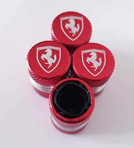 Speed Demon Ferrari Rote Lasergravierte Staubkappen für alle Modelle Fahrzeuge mit Kunststoff-Innenseiten, die Nicht an den Ventilen haften