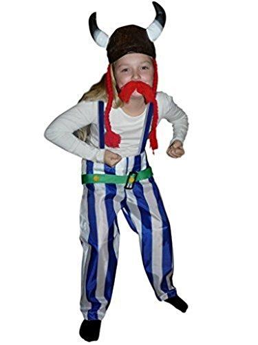 (Gallier-Kostüm, TO08/00 Gr. 104-110, mit Helm und Zöpfen!, für Kinder, Gallier-Kostüme, Fasching Karneval, Karnevalskostüme, Kinder-Faschingskostüme, Geburtstags-Geschenk Weihnachts-Geschenk)