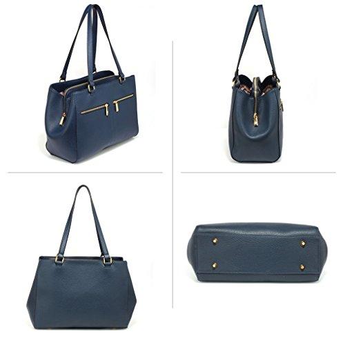 LeahWard Damen Große Taschen 3 Fächertaschen für Frauen Tragetaschen für Schule 00250 (BLAU/MARINE) DUNKELBLAU SCHULTERTASCHE