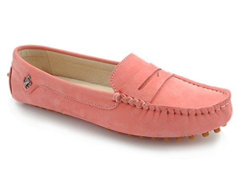 MINITOO Mädchen Damen Casual Wildleder Fahren Outdoor Boot Schuhe Slipper Mokassins, Pink - Pink-Nubuck Leather - Größe: EU 40